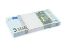 捆绑欧元货币 库存照片