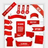 捆绑红色万维网要素。 角落和丝带Coll 免版税图库摄影