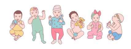 捆绑逗人喜爱的新出生的婴孩或小孩子穿戴了以各种各样的衣裳和举行玩具和吵闹声 套小孩 向量例证