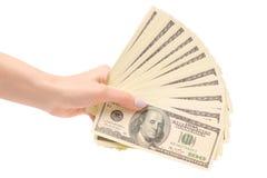 捆绑金钱美元在手上 免版税库存照片