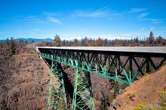 捆金属桥梁有逐渐变细的支持通过深岩石ravi 免版税库存照片