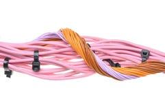捆绑与黑电缆扎匝的缆绳 库存照片