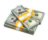 捆绑100张美元2013年编辑钞票 库存照片