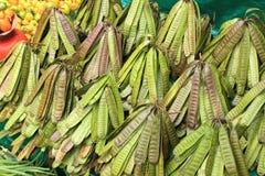 豆荚在墨西哥市场上 免版税库存照片