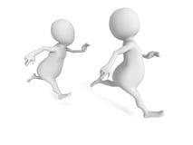 捉住两个白3d的人跑和 免版税库存图片