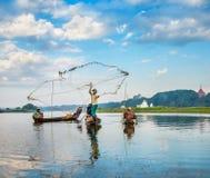 捉住钓鱼鱼的渔夫生长池塘停留三的芦苇标尺 免版税库存照片