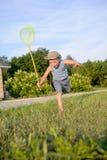 捉住蝴蝶的逗人喜爱的滑稽的小男孩赛跑 图库摄影