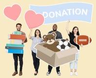 捐赠事的志愿者对慈善 库存照片