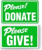捐赠产生绿色请被设置的符号 皇族释放例证