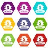 捐赠徽章象设置9传染媒介 向量例证