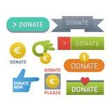 捐赠按钮传染媒介集合 免版税图库摄影
