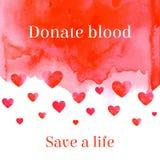 捐赠血液救球医疗帮助的生活诱导字法 免版税库存图片