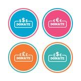 捐赠金钱标志 美元、欧元和磅 图库摄影