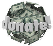 捐赠金钱现金球形球给份额捐赠帮助其他 免版税库存图片