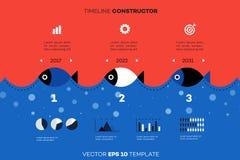 捕鱼业的现代Infographic时间安排建设者 概念性传染媒介背景 商业的模板 库存照片