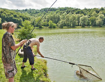 捕鱼体育运动 库存图片