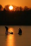 捕鱼冬天 库存照片