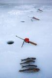 捕鱼冰冬天 库存图片