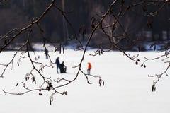 捕鱼冰谎言捕捉冬天zander 河,在森林附近的湖冰的 钓鱼者的被弄脏的图象, Fishermens通过树枝,喜爱的人 免版税库存照片