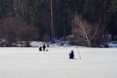 捕鱼冰谎言捕捉冬天zander 河,在森林附近的湖冰的 钓鱼者, Fishermens在您喜爱的业余时间 复制空间,为 图库摄影