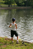 捕鱼孩子 库存图片