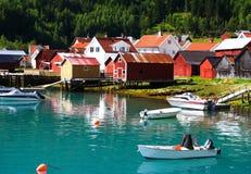 捕鱼挪威村庄 库存照片