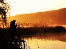 捕鱼早晨 库存照片