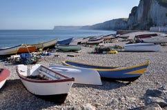 捕鱼法国端口yport 库存照片