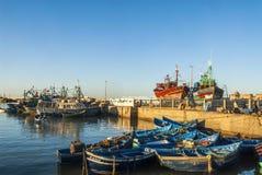捕鱼港口在摩洛哥 库存图片