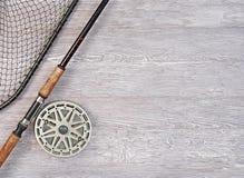 捕鱼网和钓鱼竿 免版税图库摄影