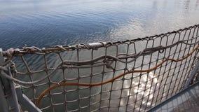 捕鱼网栏杆和海顶视图 股票视频