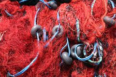 捕鱼网红色 免版税库存图片