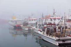 捕鱼船在一个有雾的有薄雾的早晨在赫本,冰岛 免版税库存图片