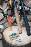 捕鱼装置和家做了晃摇物的 库存照片