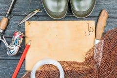 捕鱼装置-渔、渔、勾子和诱饵,老板料o 库存照片