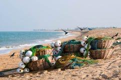 捕鱼设备、buskets与网和浮游物 免版税库存图片