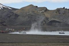 捕鲸船` s海湾,南极洲 免版税库存照片