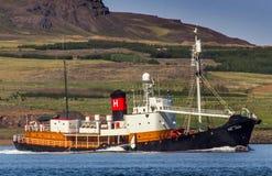 捕鲸船Hvalur 9个RE-399。 库存照片