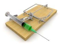 捕鼠器和注射器(包括的裁减路线) 库存图片