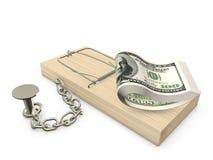 捕鼠器和美元 库存照片