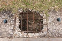 损伤老具体流失水路盖子 库存照片