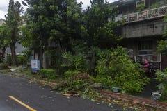 损坏做由台风Soulik对台北市 免版税图库摄影
