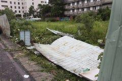损坏做由台风Soulik对台北市 免版税库存图片