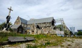 损坏的克赖斯特切奇大教堂 库存图片