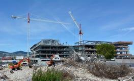 损坏的和新的大厦在克赖斯特切奇新西兰 库存照片