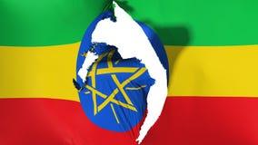 损坏的埃塞俄比亚旗子 库存例证