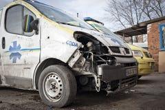 损坏的救护车 库存图片