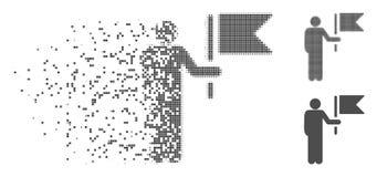 损坏的映象点半音司令员With Flag Icon 库存例证