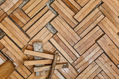 损坏的木地板 免版税库存照片