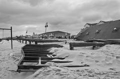 损坏的木板走道Belmar 免版税图库摄影